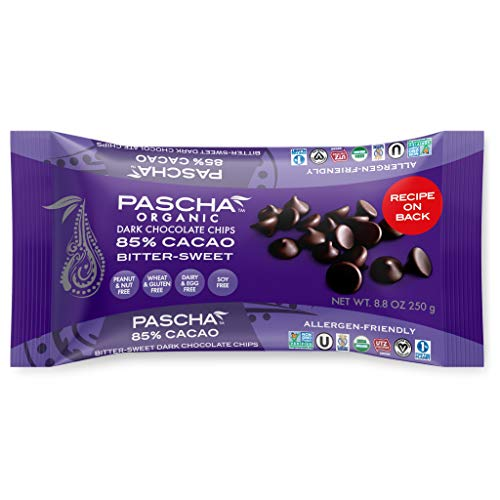 Pascha Organic Bitter Sweet Chocolate Baking Chips 85% Cacao, UTZ, Gluten Free, Non GMO, 8.8 Ounce, 6 Pack