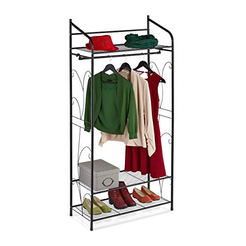 Relaxdays Kleiderständer Metall, Garderobenständer mit Schuh-& Hutablage, offener Kleiderschrank, 161x78x36 cm, schwarz, 1 Stück