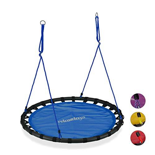 Relaxdays, blau Nestschaukel, runde Hängeschaukel, für Kinder & Erwachsene, verstellbar, draußen, Ø: 120 cm, bis 100 kg