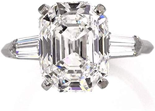 Gopi Gems Beautiful Harlow Ring, Emerald Cut 4.50CT, Colorless Moissanite Ring, 925 Sterling Silver Ring, Engagement Ring, Wedding Gift, Valentine Gift, Perfact for Gift Or As You Want (Q)