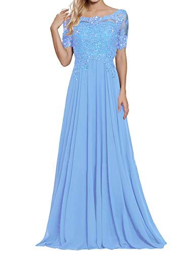 Damen Spitzen Abendkleider Chiffon Brautmutterkleider Lang Kurzarm Brautjungfernkleider Ballkleider A-Linie Hellblau 32