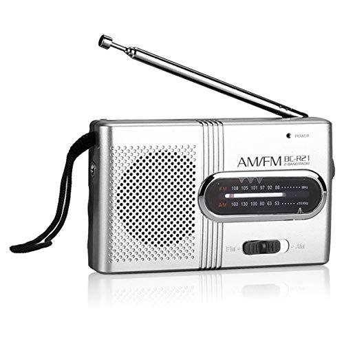 LIUDOU AM/FM Radio Portatile con L'altoparlante, Una Buona Ricezione Pocket Radio con Clear Eccellente Suono, Piccolo Formato Compatto, A Pile (Non Include La Batteria)