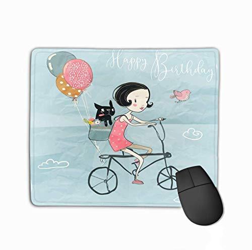 Benutzerdefinierte Mauspad, einzigartige gedruckte Mausmatte Design süße Mädchen Hund Fahrrad Luftballons Farbe