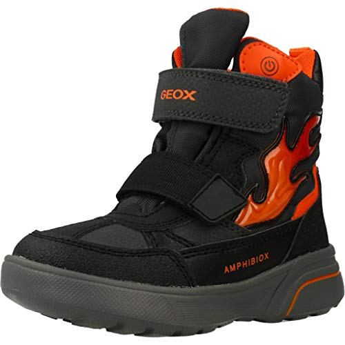 Geox Jungen Winterstiefel SVEGGEN Boy ABX, Kinder Stiefel,Winter-Boots,Outdoor-Kinderschuhe,warm,Black/ORANGE,28 EU / 10 UK Child