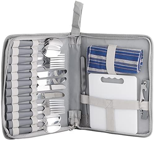 BRUBAKER Outdoor Picknick Besteckset mit Schneidebrett und Flaschenöffner für 4 Personen Camping und Reisen - Platzsparend im Etui 23 × 4 × 29 cm - Grau