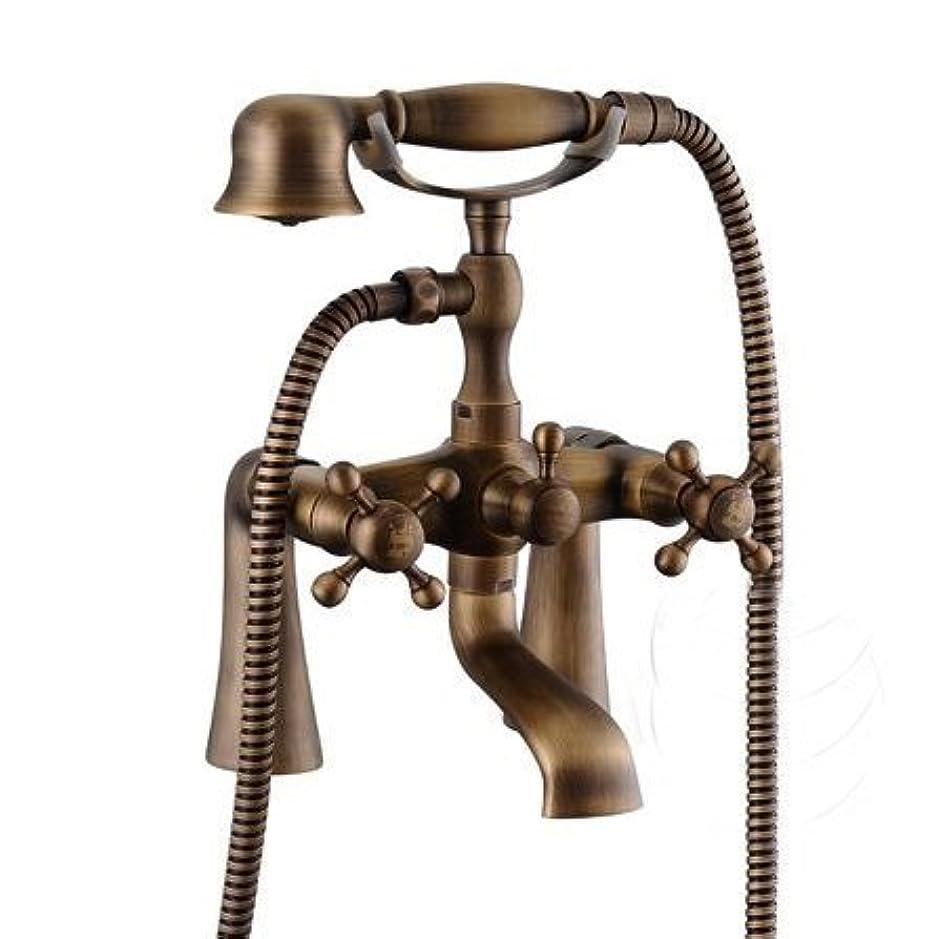 脱走ダイヤモンドインゲンYASE-king 蛇口 アンティークブロンズブラスデッキはClawfootシャワー/バスタブミキサー蛇口+ハンドシャワーセット浴室の蛇口トイレHJ-6053、白をマウント