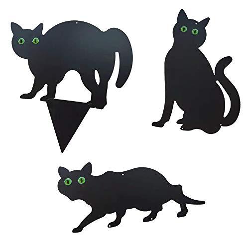 Rongchuang 3 Stück Katzen zur Herstellung von Abschreckung, Deko-Schablonen aus Metall, Katzenschablonen mit realistischen Augen, Gartenabwehr, Schwarz