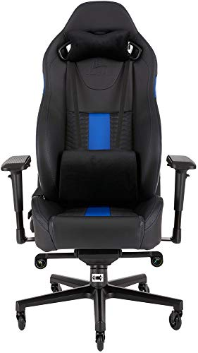 Corsair T2 Road Warrior, Faux Leather Gaming Office Chair, Easy Assembly, Ergonomic Swivel, Adjustable Height and 4D Armrests, Comfortable Wide Seat with High Recliner, Black/Blue