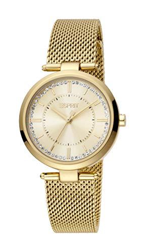 Esprit Reloj Zea ES1L251M0055 para mujer de acero inoxidable chapado en oro, 5 bar, analógico dorado
