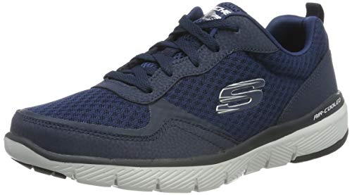 Skechers FLEX ADVANTAGE 3.0 Men's Low-Top Trainers, Blue (Navy Leather/Mesh/Trim Nvy), 8 UK (42 EU)