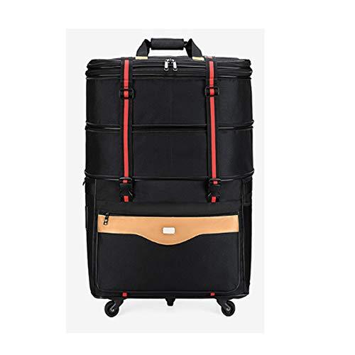YI'HUI Rollende Reisetasche, Fahrbare Laptoptasche Für Die Reise, Gepäckkoffer Mit Freilauf, Kompakte Tasche, Fahrbarer Rucksack Student Computer Carry Luggage,Schwarz,32inch