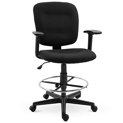 Vinsetto Ergonomic Studio Mid-Back Drafting Chair with Adjustable Seat Height, Foot Ring and Armrest, 360° Swivel, Polyester