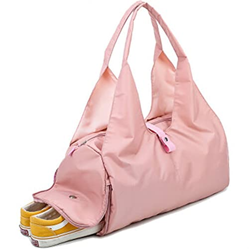 SZBLYY Bolsa de Yoga Al Aire Libre Impermeable Nylon Sports Gym Bags Hombres Mujeres Entrenamiento Fitness Travel Bolso Yoga Mat Bolsa de Deporte con Compartimiento (Color : Pink)