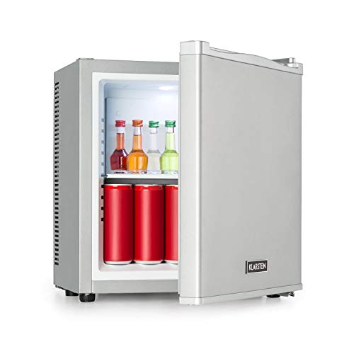 KLARSTEIN Secret Cool Mini Frigorifero - MiniBar, Frigo Bevande, Classe Energetica G, 13 Litri, 45 cm di Altezza, 0 dB, Silenzioso, Senza Odori, Range Temperatura: 5-8 °C, Argento