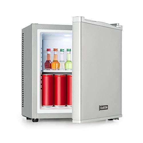Klarstein Secret Cool - Mini Nevera, Volúmen de 13 litros, Ruido de 0 dB, Rango de frío de 5-8 °C, Potencia 58 W, Sistema termoeléctrico, Iluminación interior, Estante de cristal extraíble, Plateado