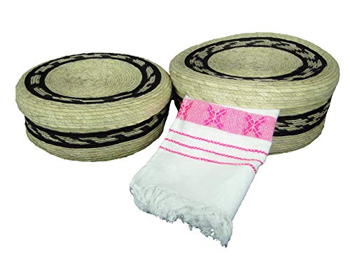2 pack Mexican handmade palm baskets with lid and 1 woven napkin cloth (servilleta mexicana) 100% cotton Eco Friendly tortilla warmer (tortillero) for party fiesta decoration (Black)