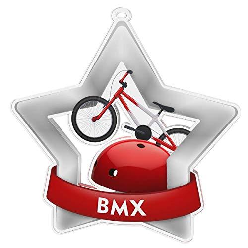 Trophy Monster - Pack de 10 medallas y Cintas para Eventos y escuelas, Hechas de acrílico Impreso, 60 mm, 70 mm, 80 mm, Plata, Maxi-Star - 70mm