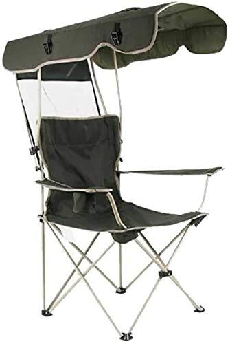 FADDR Silla de Camping con Dosel de Sombra, Silla de Playa Plegable portátil Compacto Pesca Senderismo Beach Gardens de seria Humana