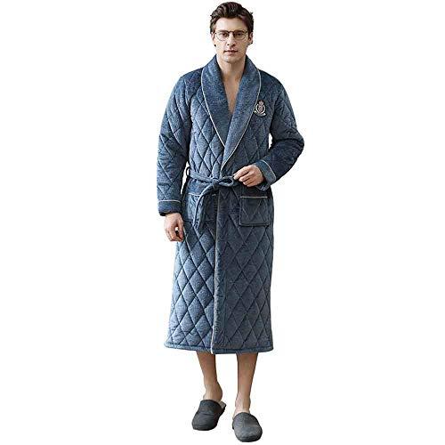 WEI-LUONG Modelos de Invierno Espesado, además de Terciopelo de Coral de Terciopelo Franela Albornoz Albornoz Largo de Costura otoño e Invierno Pijamas Hombres de la XL japonés