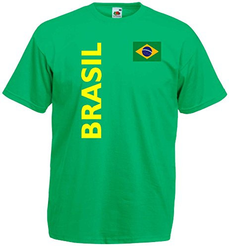 Fruit of the Loom Brasilien Herren T-Shirt Brasil Trikot Fan Shirt|grün XL