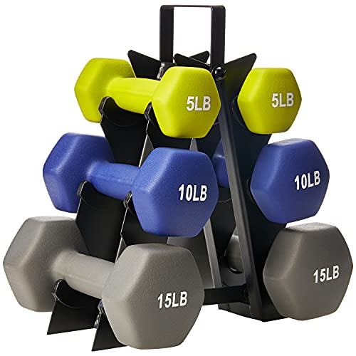 Amazon Basics Neoprene Workout Dumbbell Hand Weights, 60 Pounds Total, Green/Blue/Grey - 3 Pairs (5-Lb, 10-Lb, 15-Lb) & Weight Rack