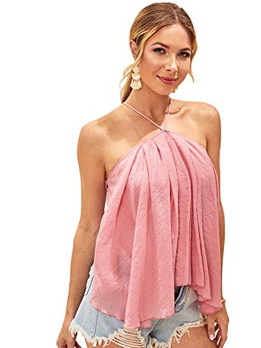 Romwe Women's Criss Cross Asymmetrical Halter Neck Sleeveless Backless Cotton Summer Blouse Top Pink XS