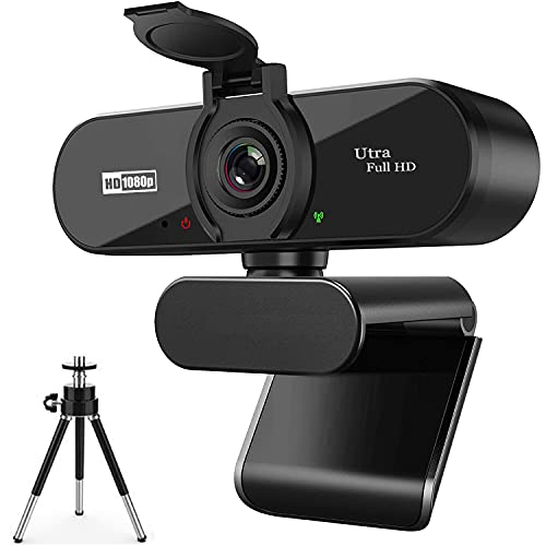 ARVIEMI Webcam - 2021 Streaming 1080P 30FPS Web Camera with Microphone, Built-in Privacy Cover And Tripod Optional, 110-Degree Wide Angle, for PC Mac Laptop Desktop, Zoom Skype FaceTime Teams
