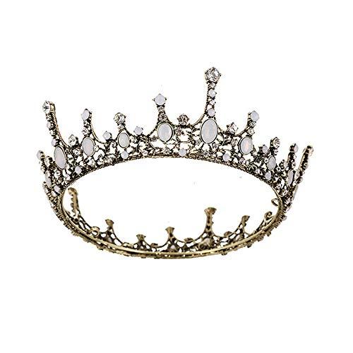 Diadema de novia bohemio tiara Fiesta de la reina de la boda de la vendimia corona del pelo de cristal brillante rhinestone tocado nupcial guirnalda del pelo para el vestido a juego ( Color : Bronce )
