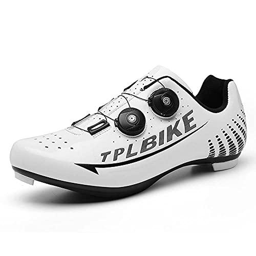Zapatos De Bicicleta para Hombre Y Zapatos De Scooter SPD Y Delta Compatibles, Adecuados para Zapatos De Bicicleta De Pedal para Hombres (45,Blanco)