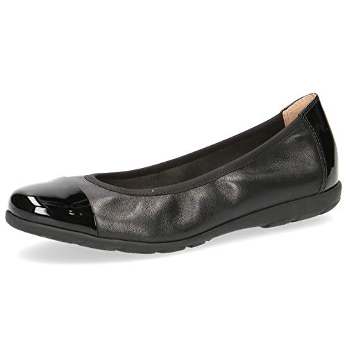 CAPRICE Damen Ballerinas 22152-24, Frauen Klassische Ballerinas, Women's Woman Freizeit leger Flats sommerschuh Slip-on,Black NAP/PAT,41 EU / 7.5 UK