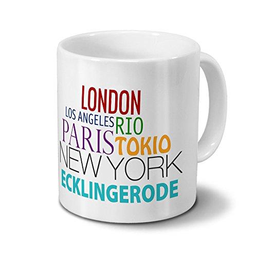 Städtetasse Ecklingerode - Design Famous Cities of the World - Stadt-Tasse, Kaffeebecher, City-Mug, Becher, Kaffeetasse - Farbe Weiß