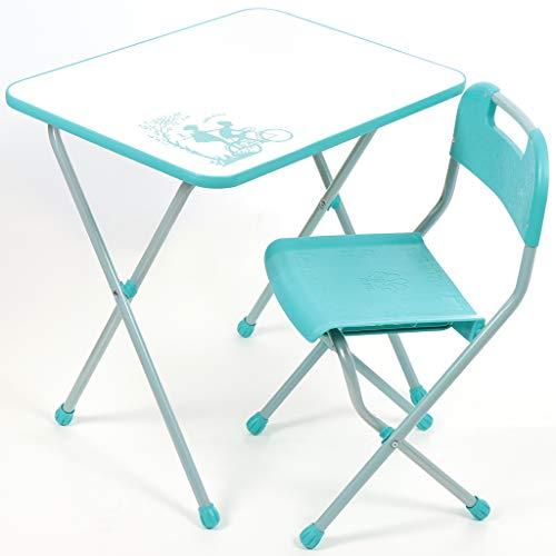 NiKA kids Kindermöbel-Set, Klapptisch und Klappstuhl, für Kinder von 3 bis 7 Jahre, METALLBASIS (Türkis)