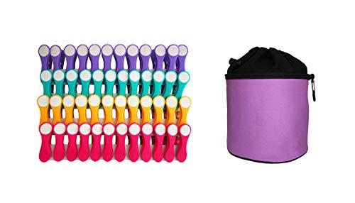 Mollette per bucato - con impugnatura e interno morbidi Softgrip/Softtouch - 48 pezzi + sacchetto viola - 12 viola, 12 turchese, 12 giallo, 12 rosa