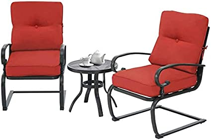 Red Cushions Steel Frame Conversation Set with Washable Cushions Cemeon Outdoor 3 Pcs Patio Bistro Set Metal Spring Chairs and Bistro Round Table Set