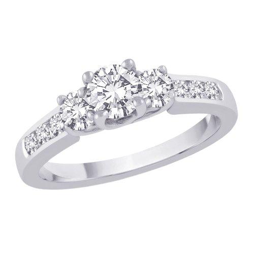 Tre Stone Plus con anello in oro bianco 14K (1Cttw)