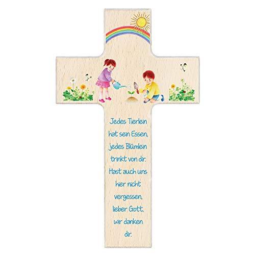 FRITZ COX® - Kinderkreuz 'Lieber Gott, wir danken Dir' 20cm natur' - BEST SELLER für Kinderzimmer und Patengeschenke