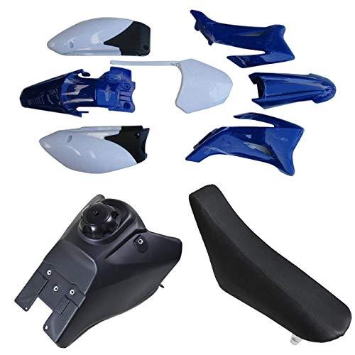 ZXTDR Plastic Fender Fairing Kit & Fuel Gas Tank & Seat for Yamaha TTR-R110E Pit Dirt Bike (Blue&White)