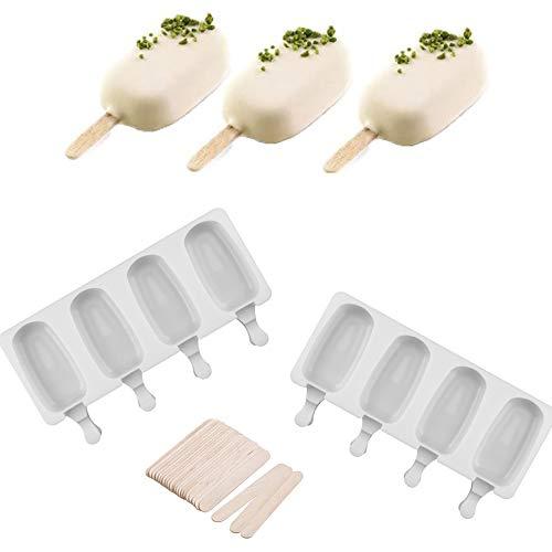 Eisformen Silikon-Form,2Stück 8 Zellen Lebensmittelecht Eisformen Popsicle Formen Silikonformen für EIS am Stiel Wiederverwendbare Starter Ice Pop Molds für Kinder und Erwachsene, Dessert, Schokolade