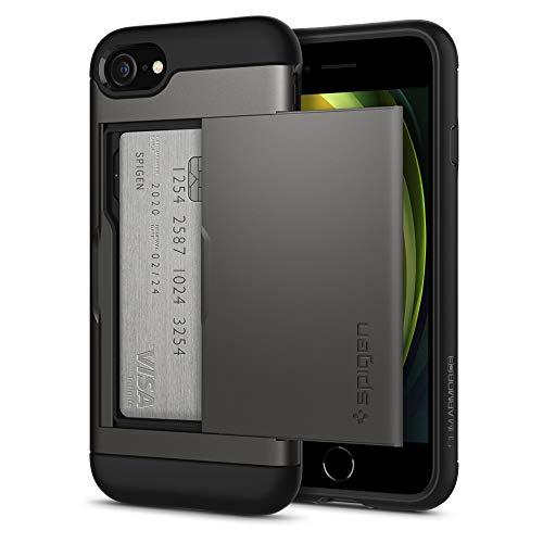Spigen Slim Armor CS Hülle Kompatibel mit iPhone SE 2020, iPhone 8 und iPhone 7 -Gunmetal