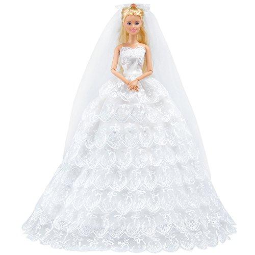 E-TING Handgefertigte Kleidung 1 Stk Organza Braut Abendkleid Set Party Gown Dresses Xmas für Barbie Fashionista-Puppen