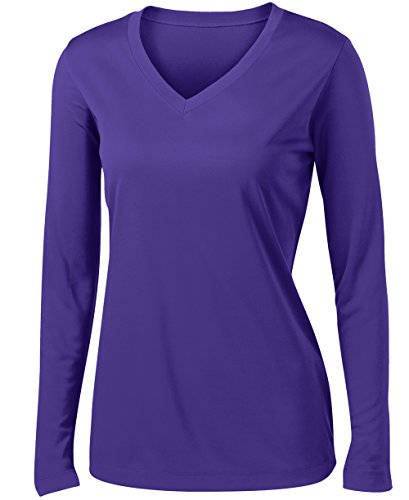 Ladies Long Sleeve Moisture Wicking Athletic Shirts Sizes XS-4XL Purple-L