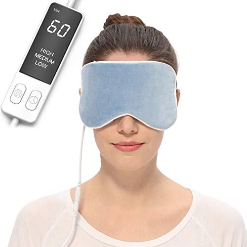 AROMA SEASON® | Große elektrisch beheizbare Maske für ultimative Entspannung | Wärmende Augenmaske aus Seide | Geruchslos oder mit angenehmen Lavendel-Duft
