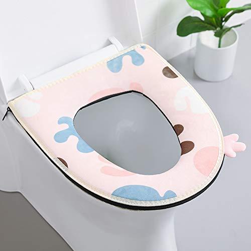 Longsheng Asiento de inodoro para el hogar, con cierre de velcro, impermeable, lavable, geometría rosa