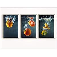 YQQICC フルーツレストラン装飾絵画3ピースウォールアートプリント写真キャンバス絵画ポスターリビングルーム用-42x60cmx3フレームなし