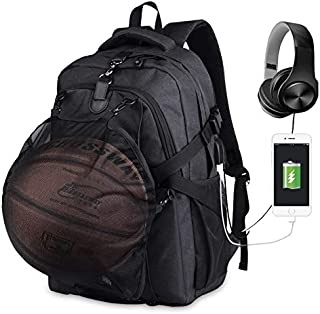 Basketball Backpacks for Football, Laptop Sports Bags with USB Charging & Headphone Port