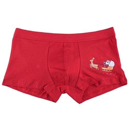 Ouneed® Herren Boxershorts, Herren Weihnachten Mens Christmas Weihnachtsmann Shorts Pouch Soft Unterwäsche (M Taille: 73-83cm / 28,7