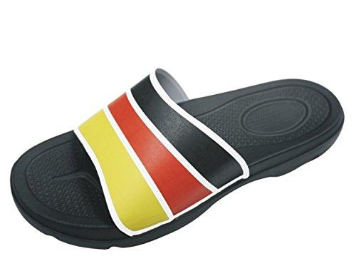 Bockstiegel® JOGI Badelatschen Damen Herren Unisex (Größen: 38-47), Farbe:Schwarz/Weiß/Rot/Gelb;Größe:39 / UK 5.5