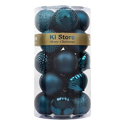 """KI Store 20ct Christmas Ball Ornaments Shatterproof Christmas Decorations Large Tree Balls for Holiday Wedding Party Decoration, Tree Ornaments Hooks Included 3.15"""" (80mm Blue)"""