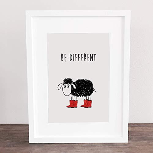 Bild, Deko, Poster, Küchenbild, Kunstdruck, schwarzes Schaf, Motivation,