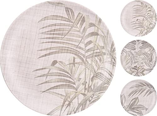 Set 6 platos de fibra de bambú, Platos de bambú de 20cm de unos 125 grs. 3 diseños variados de hojas de helecho.